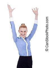 kobieta handlowa, jej, powietrze, siła robocza, odrobina, szczęśliwy