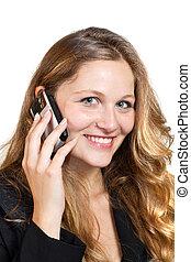 kobieta handlowa, jej, ruchomy, na, -, odizolowany, telefon, tło, biały