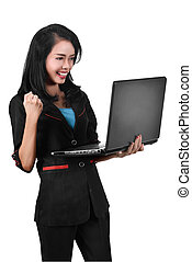 kobieta handlowa, laptop, asian, dzierżawa, wyrażenie, podniecony, szczęście