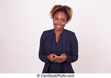 kobieta handlowa, ludzie, -, amerykanka, smartphone, czarnoskóry, afrykanin, używając