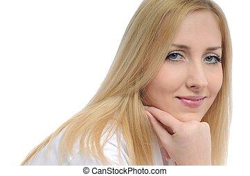 kobieta handlowa, młody, odizolowany, portret, uśmiechanie się