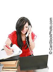 kobieta handlowa, młody, telefon, biuro, uśmiechanie się, biorąc notatnik