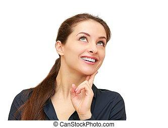 kobieta handlowa, myślenie, do góry, odizolowany, patrząc, uśmiechanie się, biały