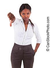 kobieta handlowa, -, na dół, amerykanka, kciuki, afrykanin, zrobienie, bla, gest