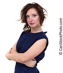 kobieta handlowa, odizolowany, młody, portret, biały