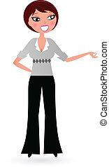 kobieta handlowa, odizolowany, przedstawiając, biały, coś