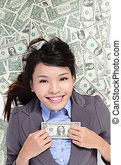 kobieta handlowa, pieniądze, łóżko, podniecony, leżący