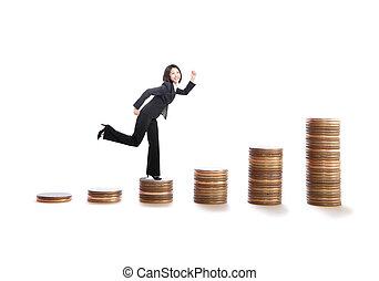 kobieta handlowa, pieniądze, młody, wyścigi, schody