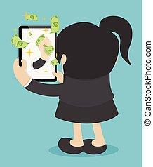 kobieta handlowa, pieniądze, ustalać, pieniądze., online, szczęśliwy