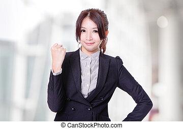 !, kobieta handlowa, pomyślny, zwycięzca, portret