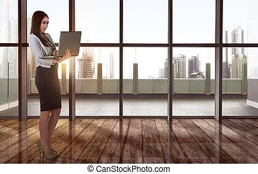 kobieta handlowa, pracujący, laptop, młody, asian, używając