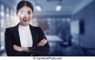 kobieta handlowa, pracujący, pomyślny, biuro., interfejs, futurystyczny