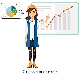 kobieta handlowa, przedstawiając, report.