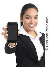kobieta handlowa, smartphone, arab, zastosowanie, pokaz, ekran, czysty