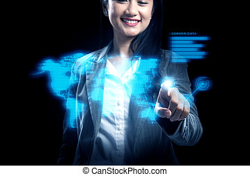kobieta handlowa, spoinowanie, ekran, faktyczny, połączenie, pociągający, asian