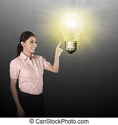 kobieta handlowa, spoinowanie, lampa, asian, bulwa