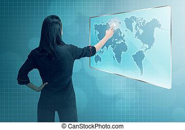 kobieta handlowa, spoinowanie, młody, asian, cyfrowy, sieć