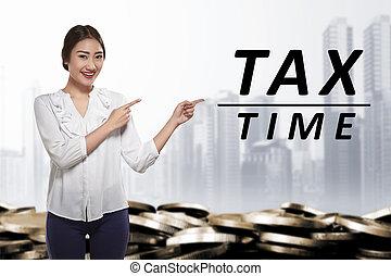 kobieta handlowa, spoinowanie, tekst, opodatkować, młody, asian, czas