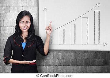 kobieta handlowa, spoinowanie, wykres, młody, asian, rozwój