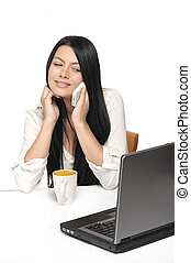 kobieta handlowa, szczęśliwy, portret, laptop