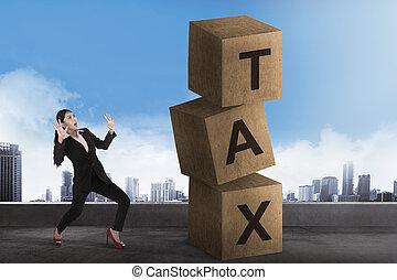 kobieta handlowa, szok, opodatkować, patrząc, asian, kloc