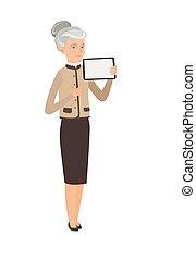 kobieta handlowa, tabliczka, computer., dzierżawa, kaukaski