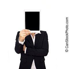 kobieta handlowa, tabliczka, ekran, cyfrowy, dzierżawa, czysty