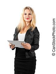 kobieta handlowa, tabliczka, młode przeglądnięcie, aparat fotograficzny, dzierżawa
