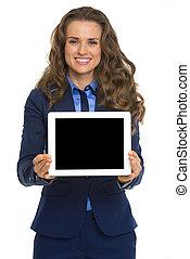 kobieta handlowa, tabliczka, pokaz, pc, czysty, uśmiechanie się, ekran
