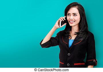 kobieta handlowa, telefon, asian, uśmiechanie się, rozmawianie