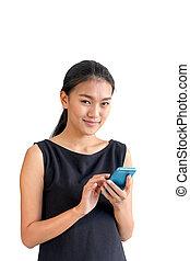 kobieta handlowa, telefon, asian, używając, uśmiechanie się, mądry