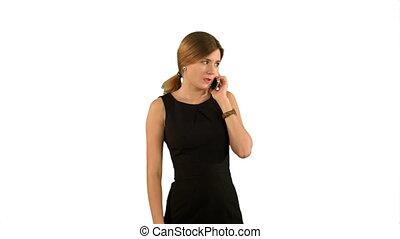 kobieta handlowa, telefon, odizolowany, mówiąc, tło, portret, uśmiechanie się, biały