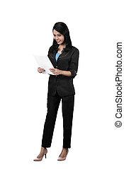 kobieta handlowa, wizerunek, papier, asian, utrzymywać