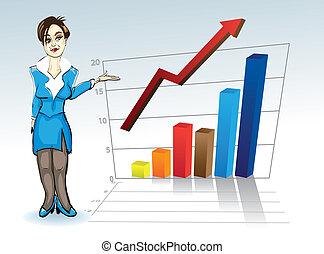 kobieta handlowa, wykres, -, młody, ilustracja, pociągający