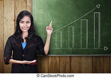 kobieta handlowa, wykres, pokaz, incrasing, asian, uśmiechanie się