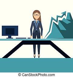 kobieta handlowa, wykres, rozwój, kreska, widać