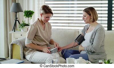 kobieta, healthcare, home., egzaminując, być w domu, ...