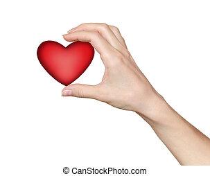 kobieta, heart., dzierżawa, dar, miłość, symbol., ręka, valentine, tło, odizolowany, zdrowie, biały czerwony