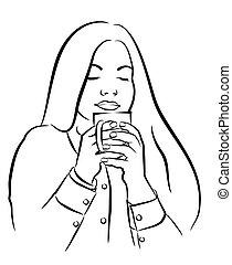 kobieta, herbata, młody, filiżanka, kawa, piękny