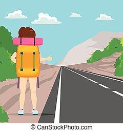 kobieta, hitchhiking, wstecz