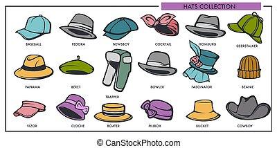 kobieta i obsadzają, kapelusze, wzory, zbiór, od, retro, i, nowoczesny, fason, typ, wektor, odizolowany, ikony