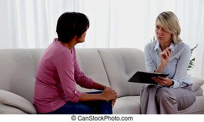 kobieta, i, terapeuta