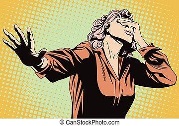 kobieta, illustration., extended., ręka, jej, przestraszony, pień