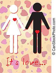 kobieta, ilustracja, valentine, wektor, serca, karta, człowiek