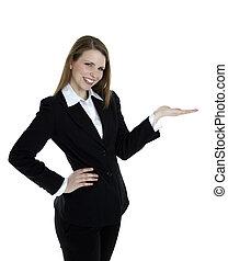 kobieta, image., handlowy, odizolowany, tło., dobry, przedstawiając, biały, bok, coś