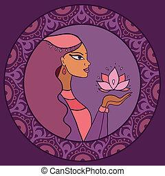 kobieta, indianin, lotus.