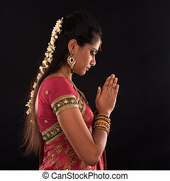 kobieta, indianin, modlitwa