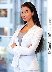 kobieta interesu, ładny, biuro