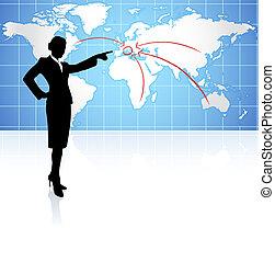 kobieta interesu, świat, tło, mapa