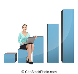 kobieta interesu, 3d, wykres, cielna, posiedzenie